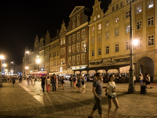 WROCLAW BY NIGHT, POLAND - AUGUST 2015